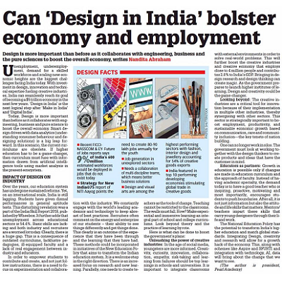 Can 'Design in India' bolster economy and employment - Prof. Nandita Abraham, Education Times, Aug, 2019